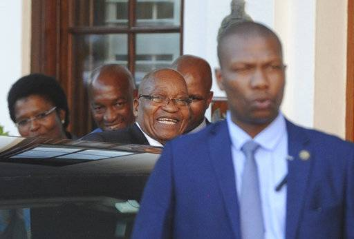 "South African President Jacob Zuma leaves parliament in Cape Town, South Africa, Wednesday, Feb 7, 2018. Zuma's exit from power because of scandals appears to be getting closer with his deputy, Cyril Ramaphosa, who is expected to replace him, saying he anticipates a ""speedy resolution"" to transition talks he is holding with Zuma."