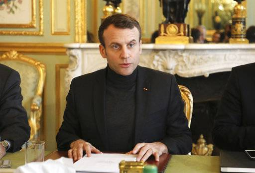 French president Emmanuel Macron speaks during a Trianon Council meeting aiming to strengthen the links between France and Russia, Friday Feb. 9, 2018, at the Elysee palace in Paris. The Kremlin said Friday the two leaders exchanged views on bilateral ties, including preparations for Macron's trip to Russia, set for May, during which he is set to attend an economic forum in St. Petersburg. (Ludovic Marin, Pool via AP)