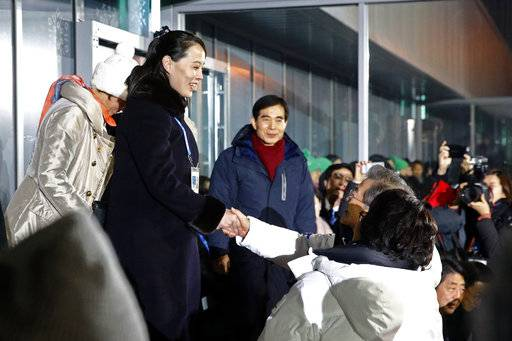Kim Yo Jong, left, sister of North Korean leader Kim Jong Un, shakes hands with South Korean President Moon Jae-in at the opening ceremony of the 2018 Winter Olympics in Pyeongchang, South Korea, Friday, Feb. 9, 2018.