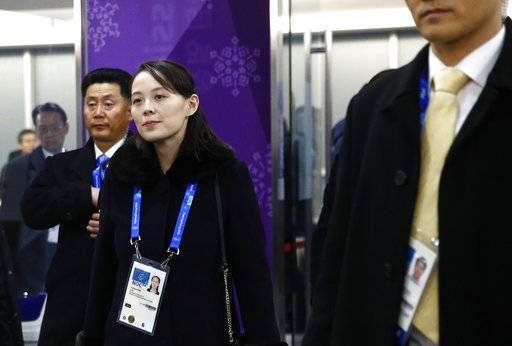 Kim Yo Jong, sister of North Korean leader Kim Jong Un, arrives at the opening ceremony of the 2018 Winter Olympics in Pyeongchang, South Korea, Friday, Feb. 9, 2018.