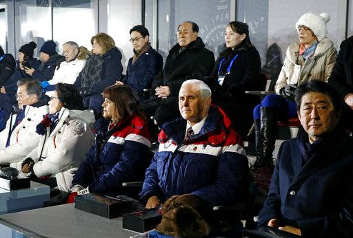Vice President Mike Pence, second from bottom right, sits between second lady Karen Pence, third from from bottom left, and Japanese Prime Minister Shinzo Abe at the opening ceremony of the 2018 Winter Olympics in Pyeongchang, South Korea, Friday, Feb. 9, 2018. Seated behind Pence are Kim Yong Nam, third from top right, president of the Presidium of North Korean Parliament, and Kim Yo Jong, second from top right, sister of North Korean leader Kim Jong Un.