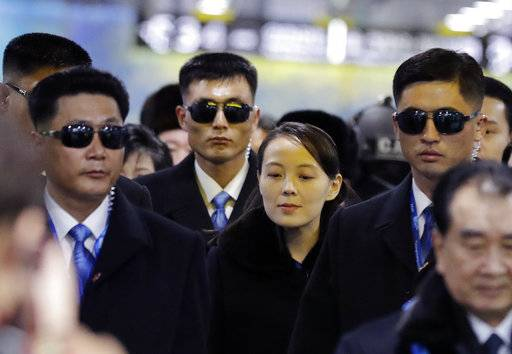 North Korean leader Kim Jong Un's younger sister Kim Yo Jong, center, arrives at the Jinbu train station in Pyeongchang, South Korea, Friday, Feb. 9, 2018. In a stunning turn of events, North Korean leader Kim Jong Un's younger sister arrived in South Korea on Friday to be her brother's special envoy to the Pyeongchang Winter Olympics.