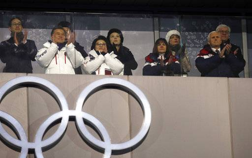 South Korean President Moon Jae-in, front left, first lady Kim Jung-sook, second lady Karen Pence and United States Vice President Mike Pence observe with Kim Yong Nam, the 90-year-old president of the Presidium of the North's Parliament, back left, and Kim Jong Un's sister Kim Yo Jong during the opening ceremony of the 2018 Winter Olympics in Pyeongchang, South Korea, Friday, Feb. 9, 2018.