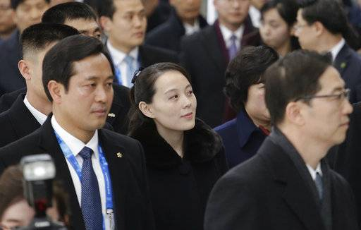 Kim Yo Jong, center, North Korean leader Kim Jong Un's sister, arrives at the Incheon International Airport in Incheon, South Korea, Friday, Feb. 9, 2018. Kim on Friday became the first member of her family to visit South Korea since the 1950-53 Korean War as part of a high-level delegation attending the opening ceremony of the Pyeongchang Winter Olympics.