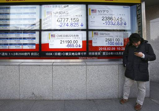 A man stands in front of electronic stock board of a securities firm in Tokyo, Friday, Feb. 9, 2018. Asian shares have opened lower and are tracking the overnight plunge on Wall Street.  The Dow Jones industrial average plunged more than 1,000 points as a weeklong market swoon continued.