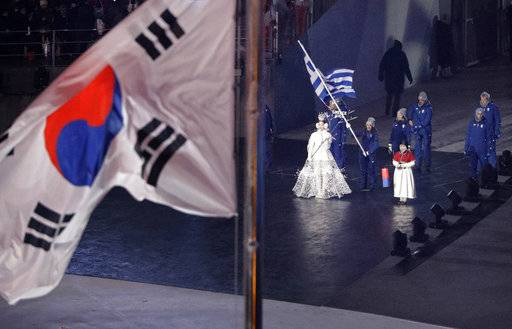 Greece enters the stadium during the opening ceremony of the 2018 Winter Olympics in Pyeongchang, South Korea, Friday, Feb. 9, 2018.