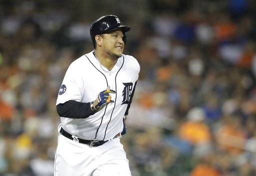 FILE - In this Sept. 21, 2017, file photo, Detroit Tigers' Miguel Cabrera runs to first on a single during the sixth inning of a baseball game in Detroit.  Cabrera is the team's lone superstar who is still around, and he's coming off the worst season of his career. His big contract may keep him in Detroit for a while.