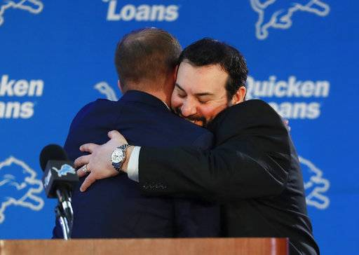 Detroit Lions head coach Matt Patricia, right, hugs general manager Bob Quinn at their NFL Football training facility in Allen Park, Mich., Wednesday, Feb. 7, 2018.
