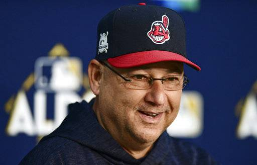FILE- In this Oct. 10, 2017, file photo, Cleveland Indians manager Terry Francona speaks during a baseball news conference in Cleveland. Determined to end their World Series title drought in 2017 after coming so close the previous season, the AL Central champions were bounced in the playoffs by the New York Yankees despite taking a 2-0 series lead. It was a bitter finish for a team that won 102 games and reeled off 22 straight victories. But while there was a sense of finality for some Cleveland fans, Francona said these Indians aren't done.