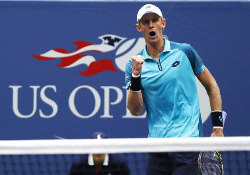 FILE - In this Sept. 10, 2017, file photo, Kevin Anderson, of South Africa, reacts after scoring a point against Rafael Nadal, of Spain, during the men's singles final of the U.S. Open tennis tournament in New York. New York no longer has to wait for the U.S. Open for top-level tennis. The New York Open debuts next week at Nassau Coliseum, a new home for a tournament that has attracted many of the best American men's players and hopes it can someday get the best in the world.