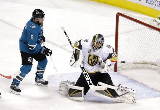 Vegas Golden Knights goaltender Marc-Andre Fleury, right, stops a shot next to San Jose Sharks center Joe Pavelski during the third period of an NHL hockey game Thursday, Feb. 8, 2018, in San Jose, Calif.