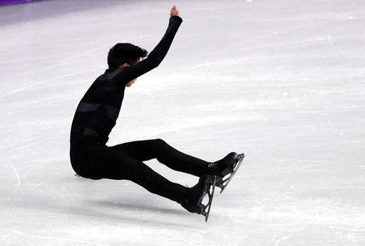 United States' Nathan Chen falls in the men's single short program team event at the 2018 Winter Olympics in Gangneung, South Korea, Friday, Feb. 9, 2018.