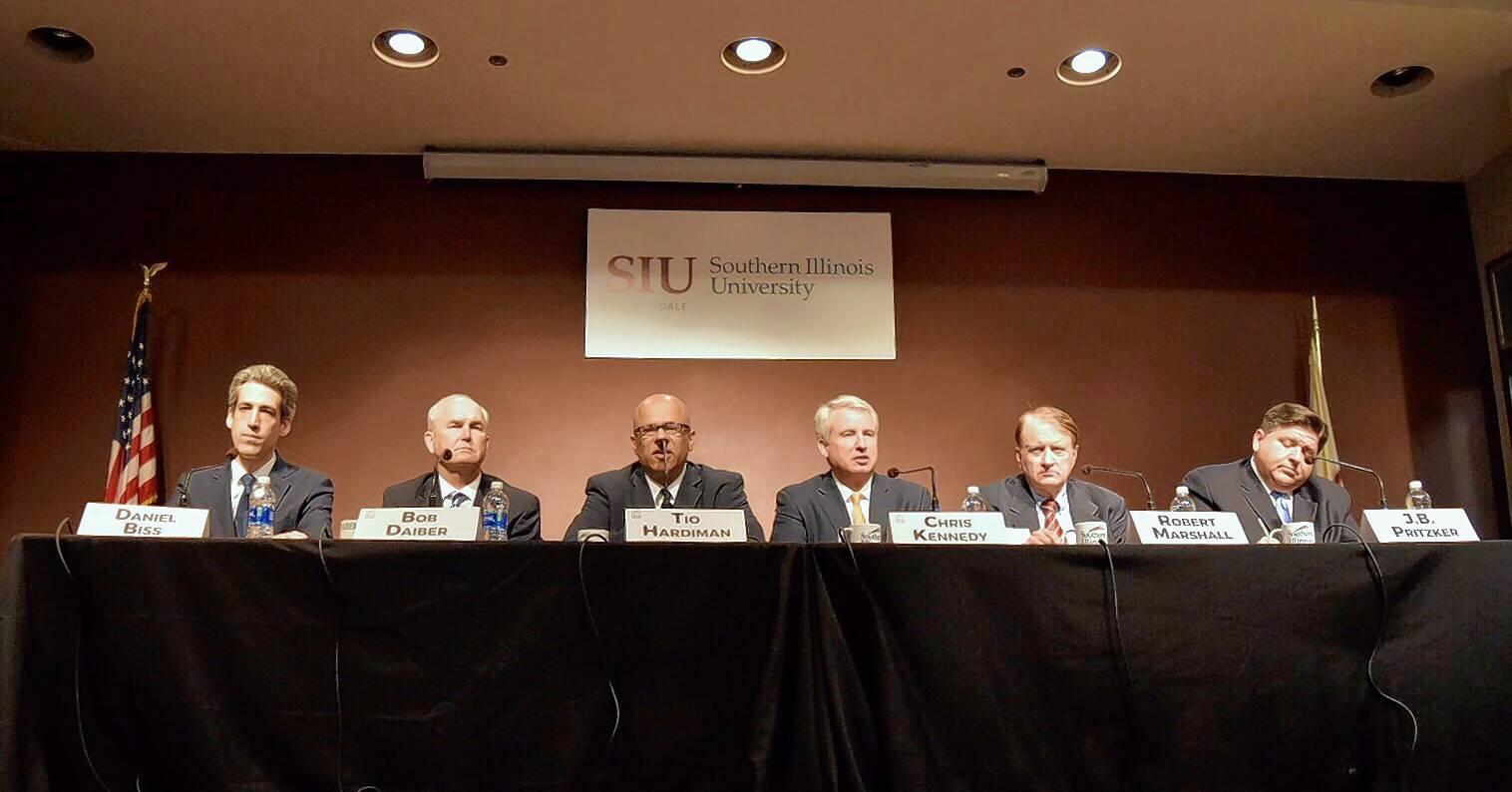 Democratic candidates for Illinois governor face the audience at a forum at Southern Illinois University conducted in January by Paddock Publications.