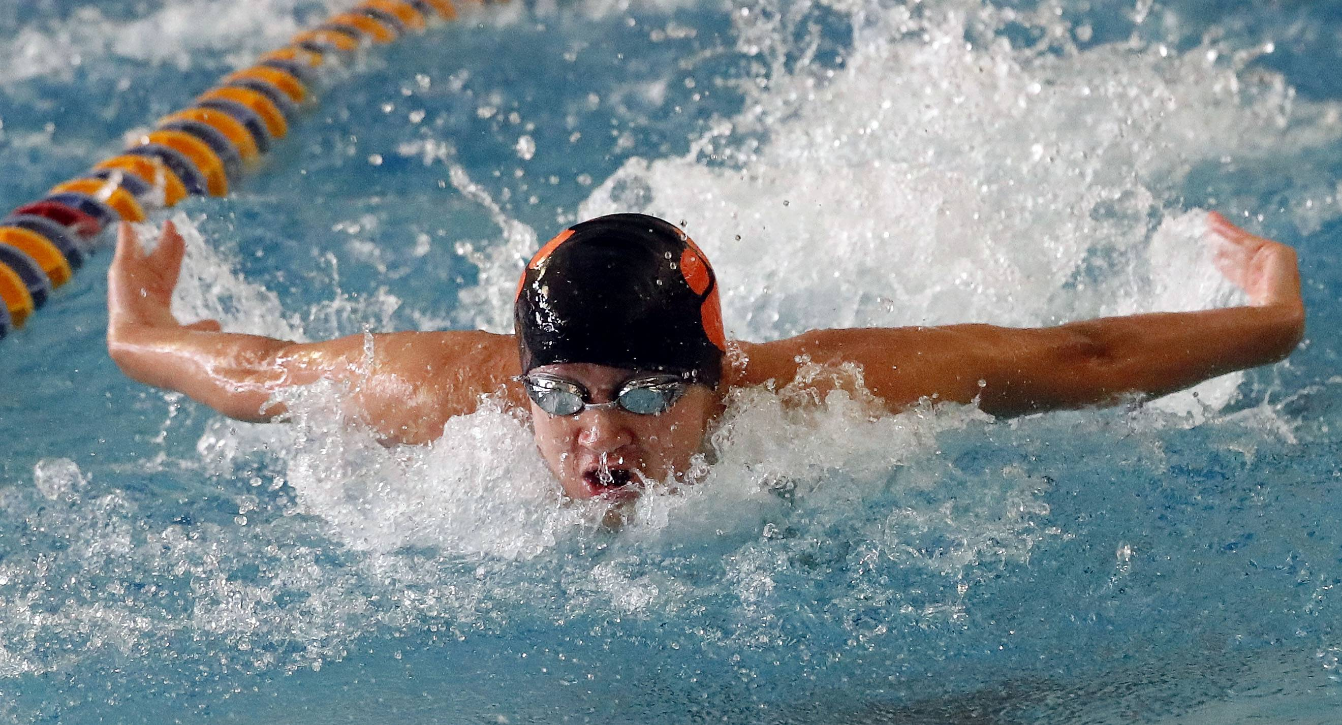 Libertyville's Lawrence Wang swims in the 200 medley relay during the North Suburban Conference meet Saturday at Lake Forest.