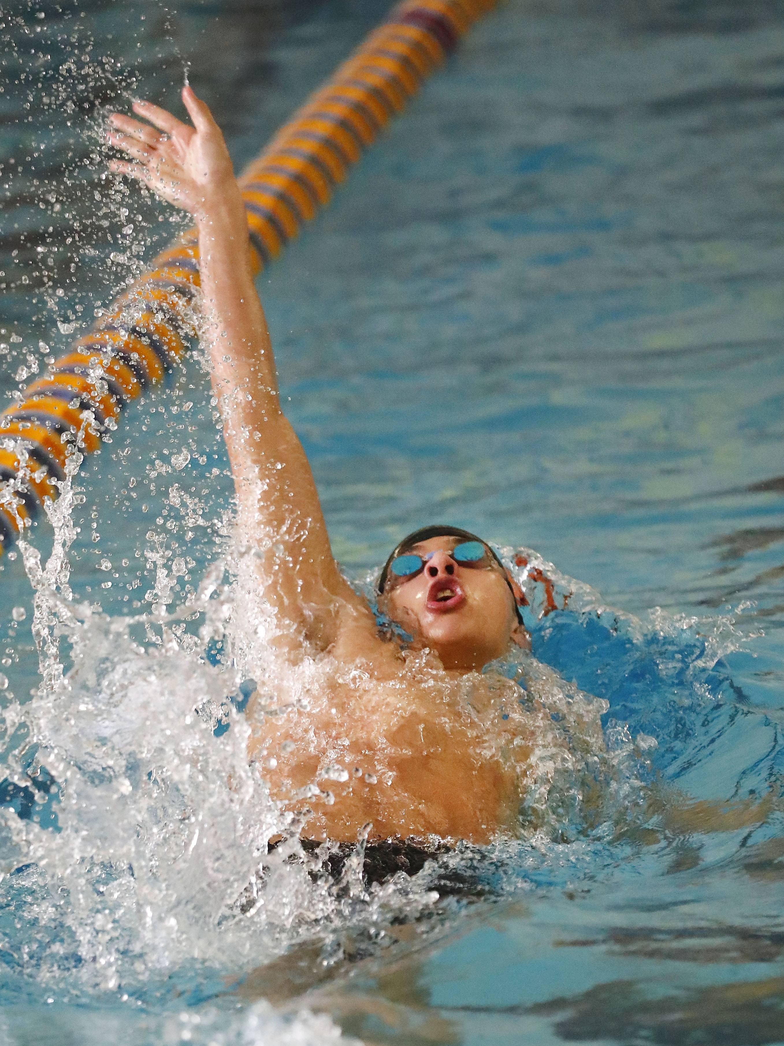 Libertyville's Austin Stevenson swims the 200 medley relay during the North Suburban Conference meet Saturday at Lake Forest.