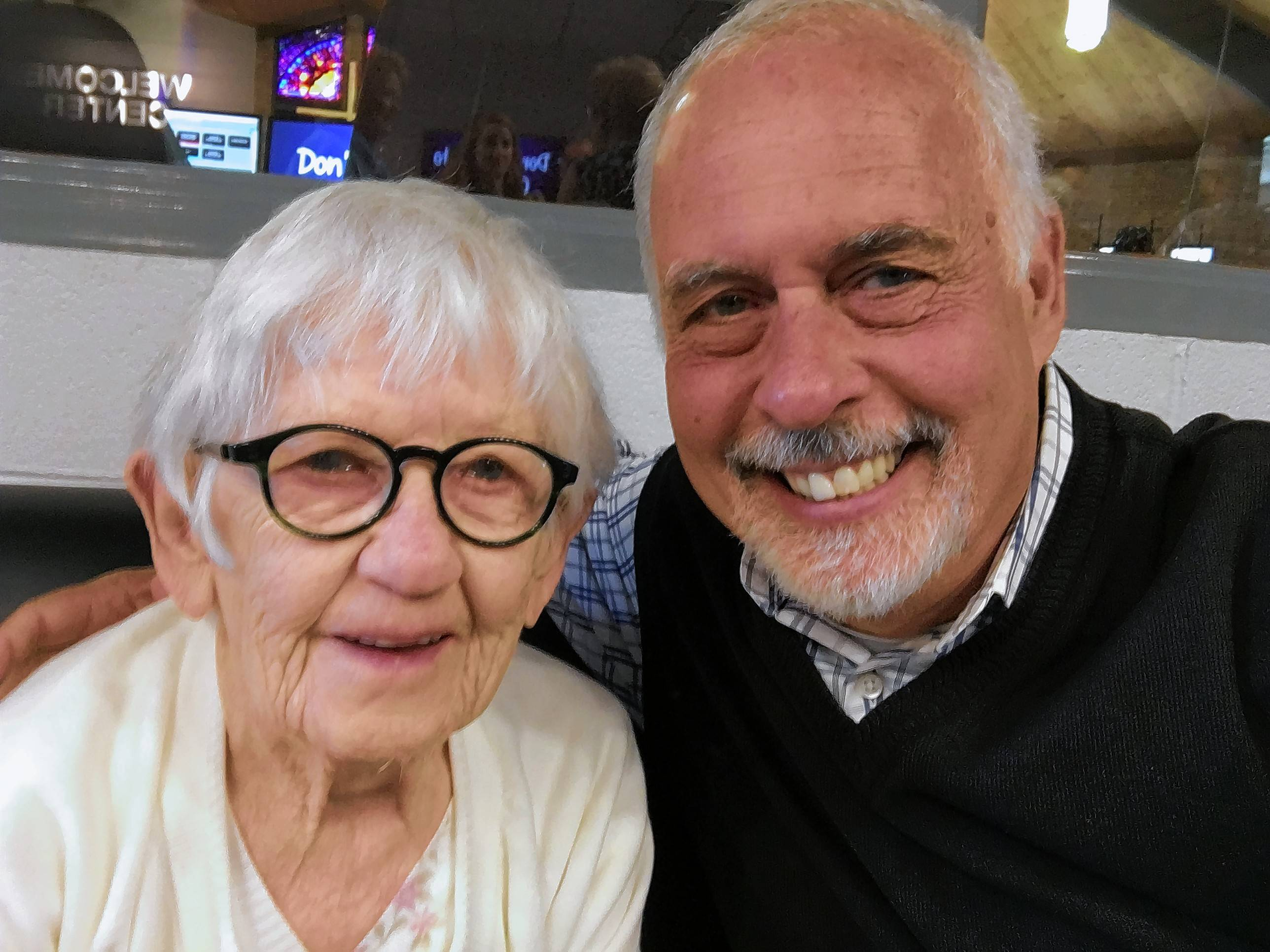 Valentine's Day was the heart of Merle Phillips' love story with her husband, who wrote her a poem every year. Merle, left, shared her story with the Rev. Greg Asimakoupoulos, right.