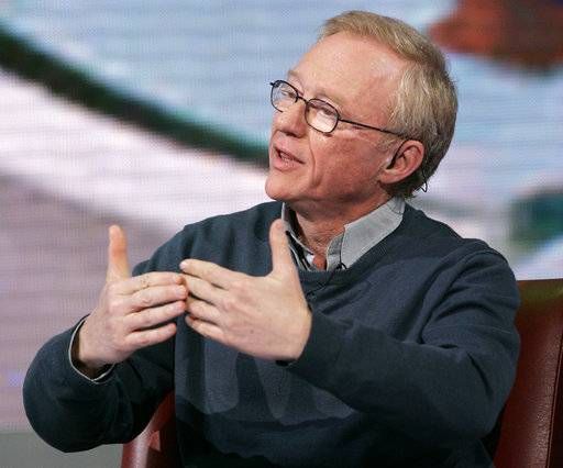 "FILE - In this March 25, 2009 file photo, Israeli author David Grossman makes a point during the taping of the TV show, ""Che tempo che fa,"" in Milan, Italy. Grossman has been awarded the country's highest literary accolade, the Israel Prize for Literature, for 2018."