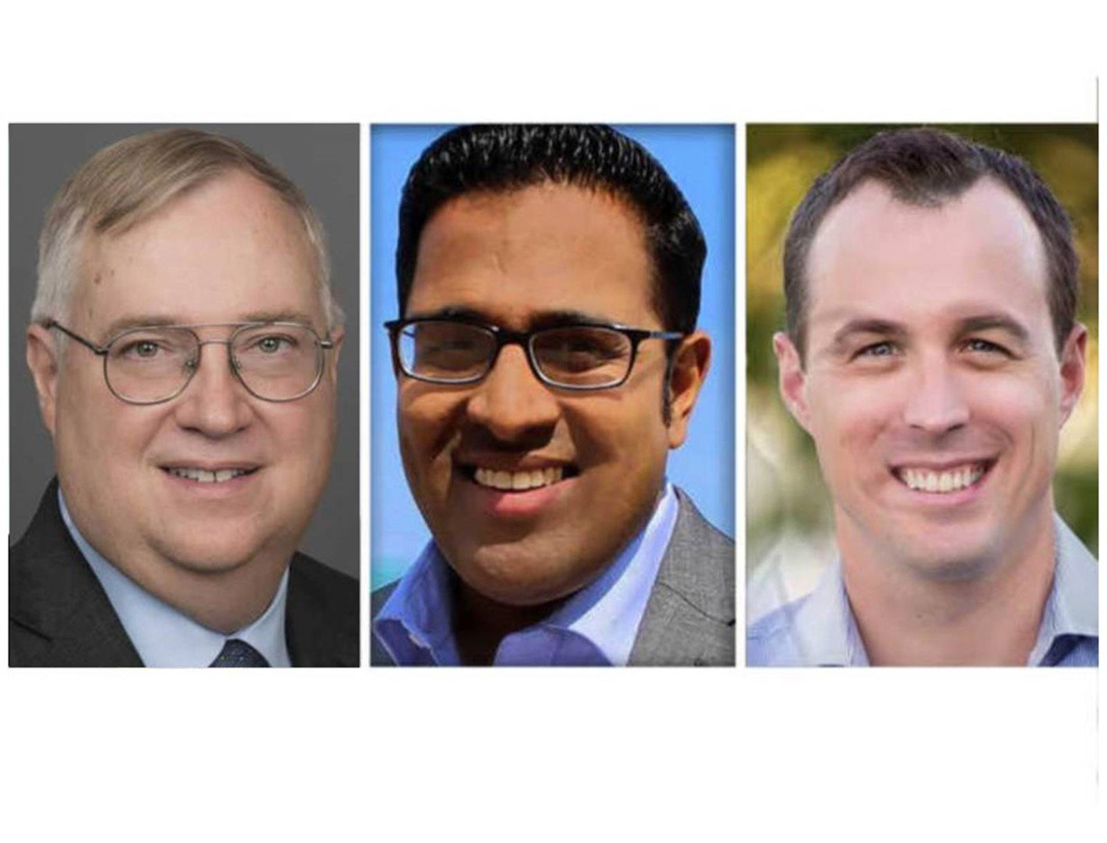 From left, Douglas Bennett, Sapan Shah, Jeremy Wynes are Republican candidates for 10th Congressional District