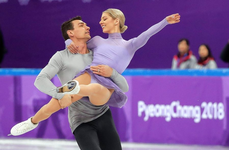 Alexa Scimeca Knierim and Chris Knierim of the United States perform in the team event pair skating in the Gangneung Ice Arena at the 2018 Winter Olympics in Gangneung, South Korea, Sunday, Feb. 11, 2018.