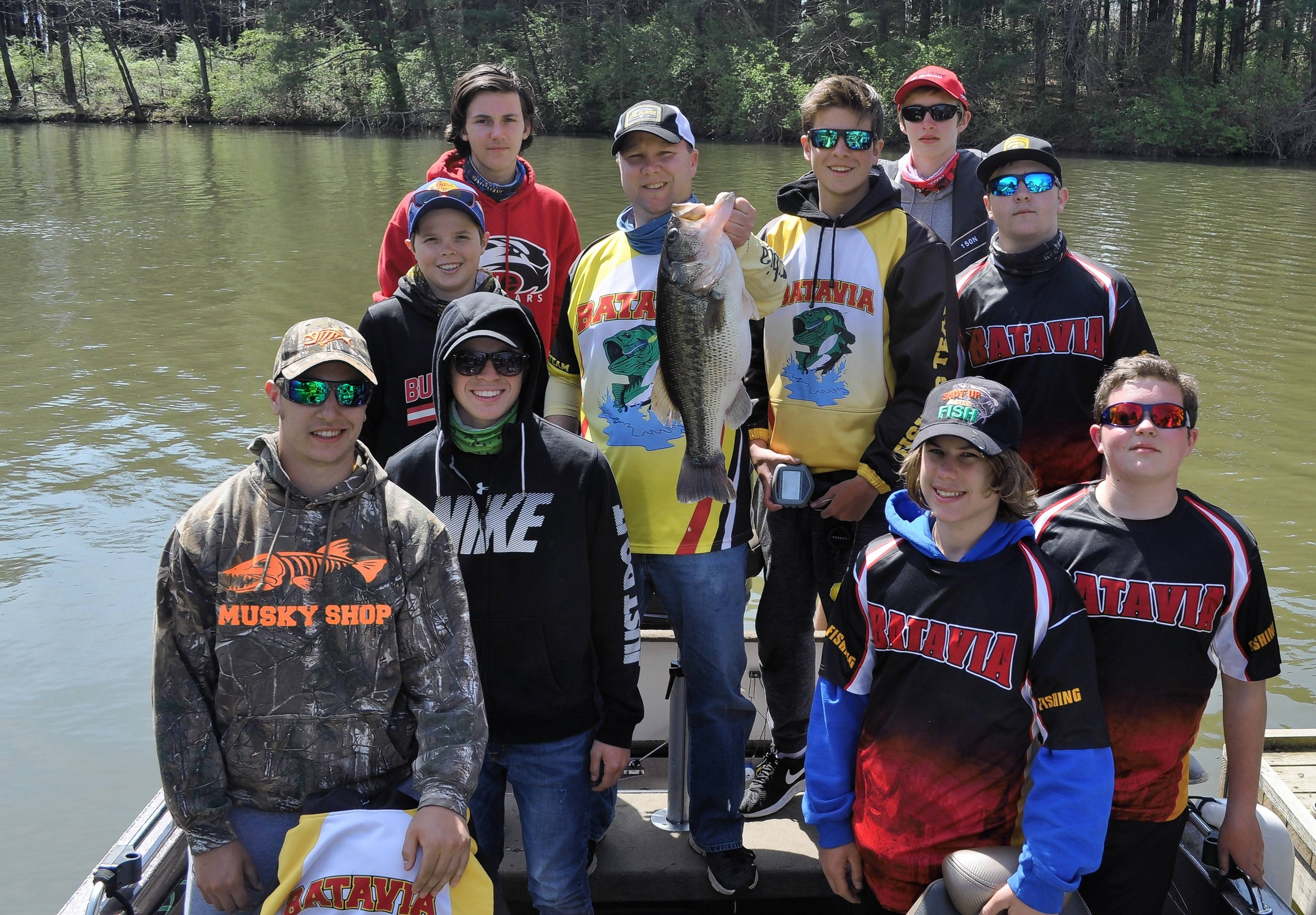The Batavia High School's fishing team includes: first row, from left, Connor Stejskal, J.D. Rodriguez, Devin DeKeyser and Ryan Larson; middle row, Dylan Krol, Coach Jeff Miller, Tanner Nelson and Nick Krumwiede, and back row, Connor McFarland and Patrick Desmet.
