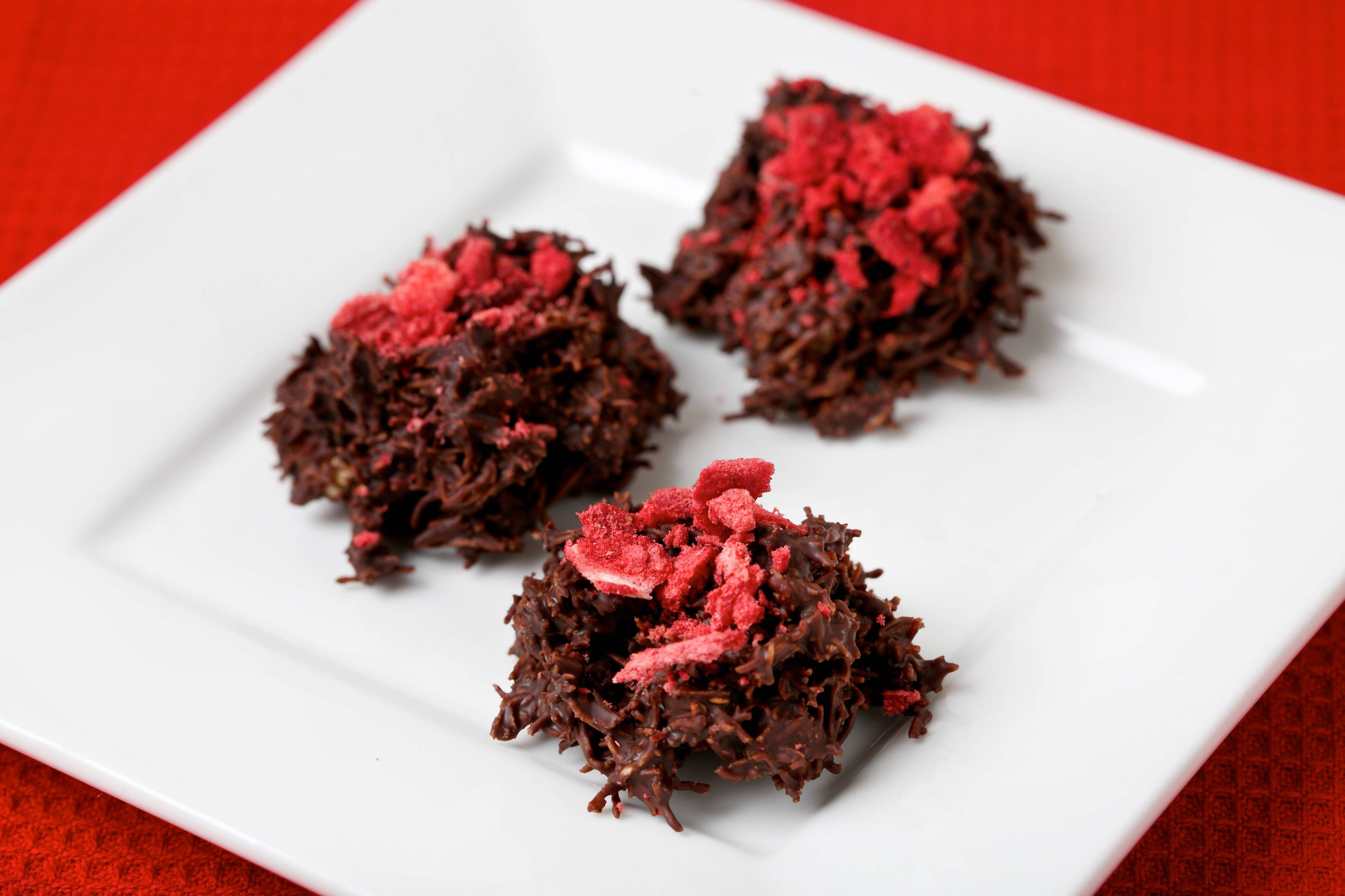 Chocolate Haystacks With Crushed Strawberries. These festive treats taste completely indulgent, but they are pretty healthful as candy goes.
