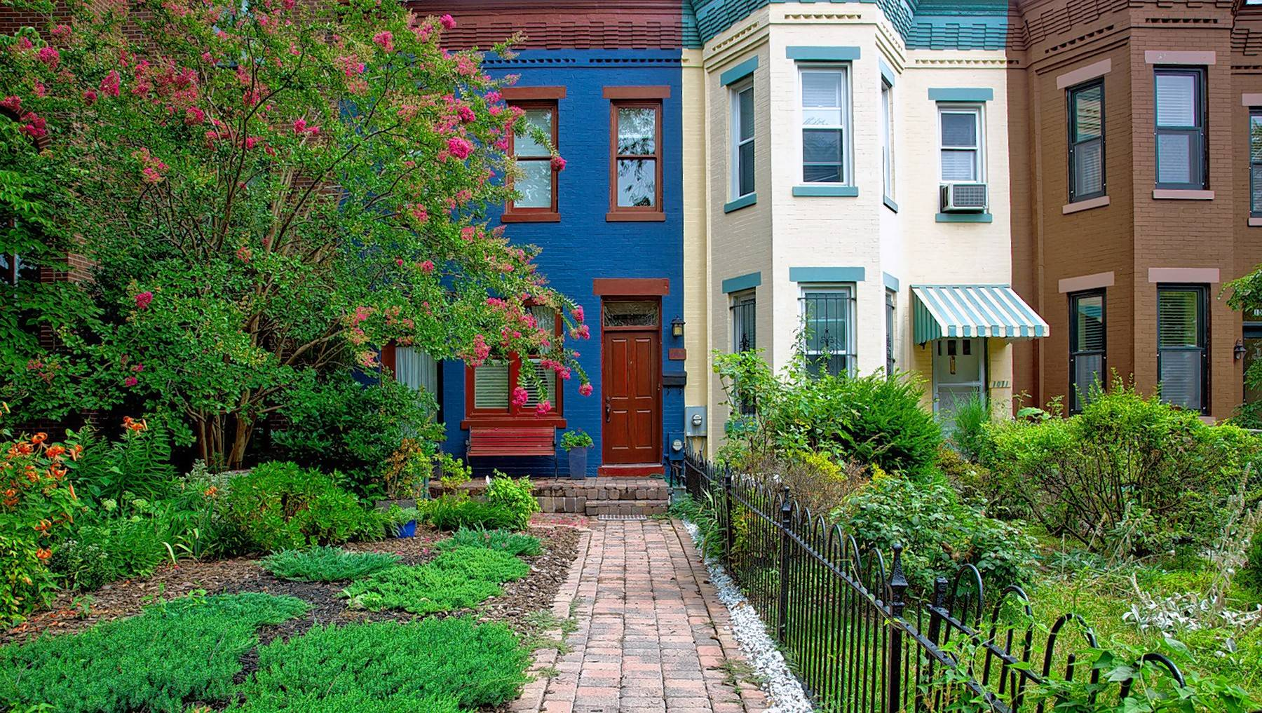 Urban centers, such as these historic row houses in Washington, D.C., offer so many conveniences of life.