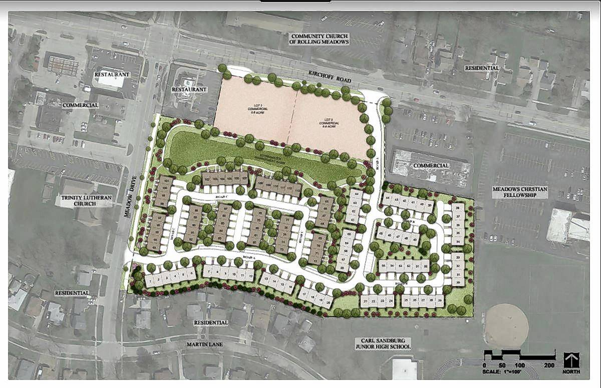 Ryan Homes is proposing a 113-townhouse development on 9.5 acres of the former Dominick's property, while 1.5 acres would be retained for commercial uses.
