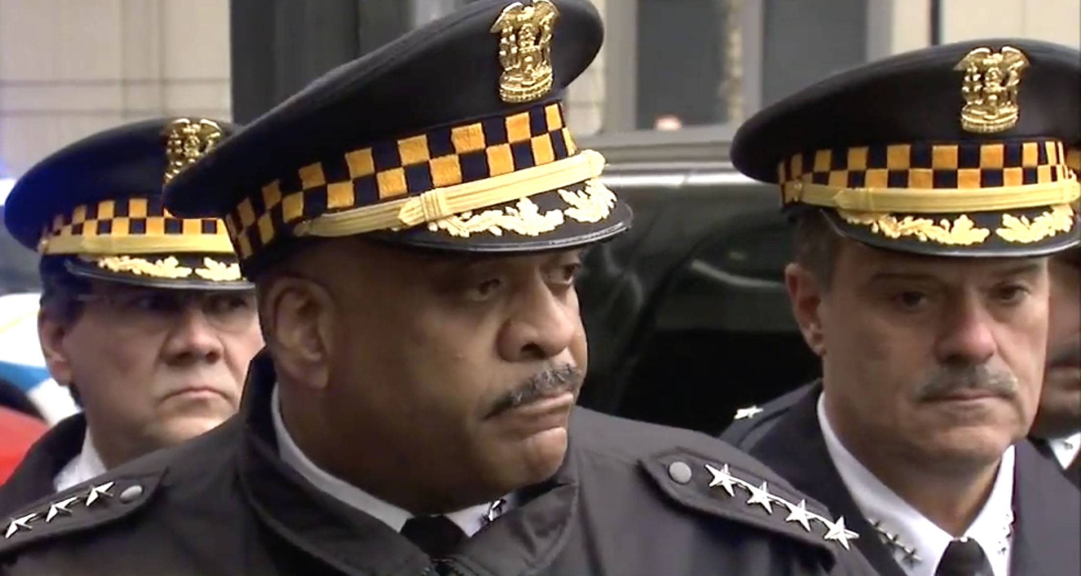 COURTESY OF ABC 7 CHICAGOAn emotional Chicago police Supt. Eddie Johnson informs members of the media that Cmdr. Paul R. Bauer was shot and killed while assisting a tactical team at a state government office building in downtown Chicago.