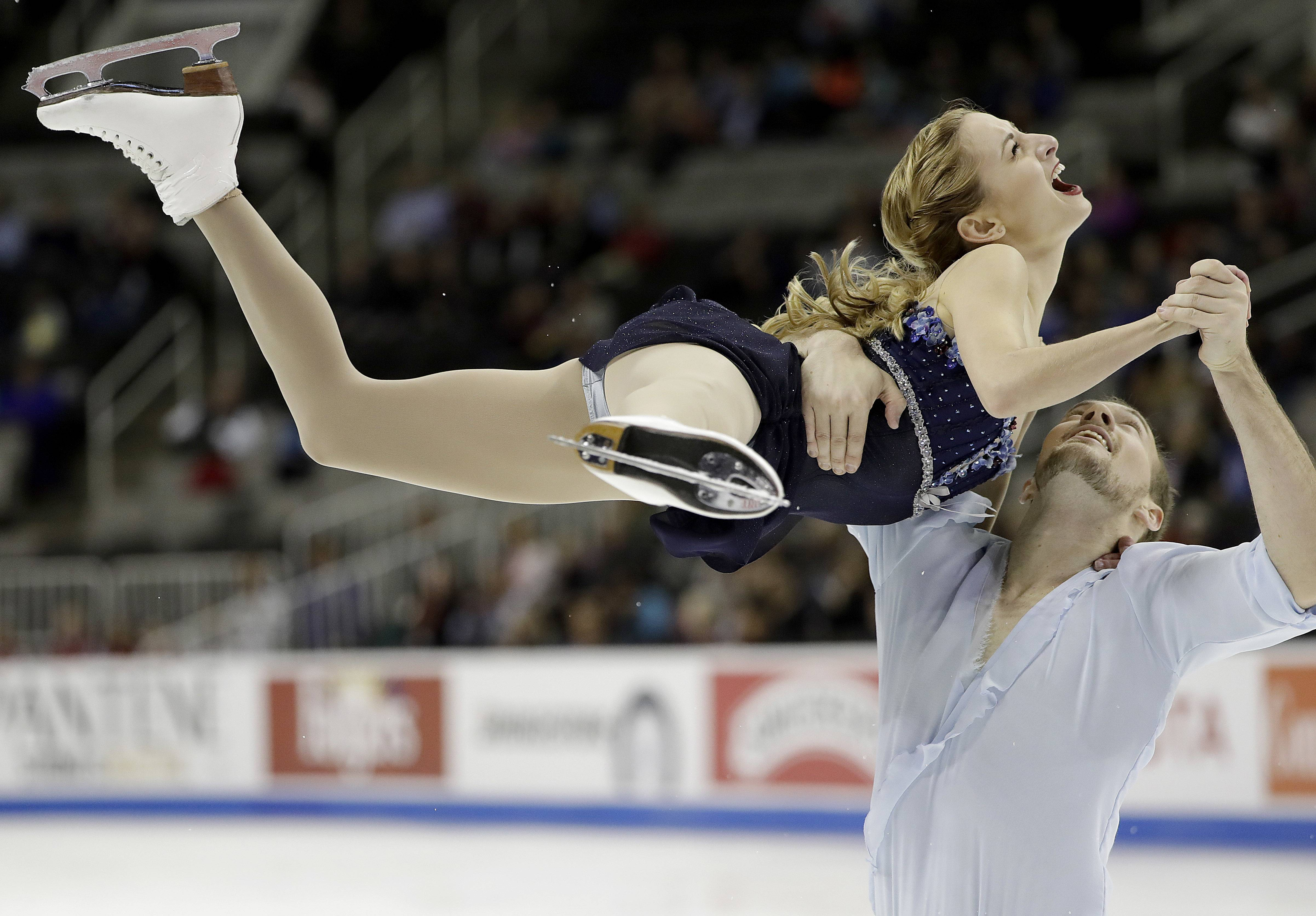 Tarah Kayne, top, and Danny O'Shea perform during the pairs short program at the U.S. Figure Skating Championships in San Jose, California, on Jan. 4. They placed second and are the first alternates at the Winter Olympics in Pyeongchang.