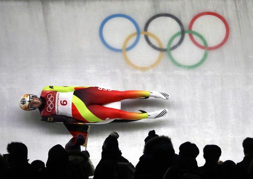 Natalie Geisenberger of Germany competes in her third run during the women's luge final at the 2018 Winter Olympics in Pyeongchang, South Korea, Tuesday, Feb. 13, 2018.