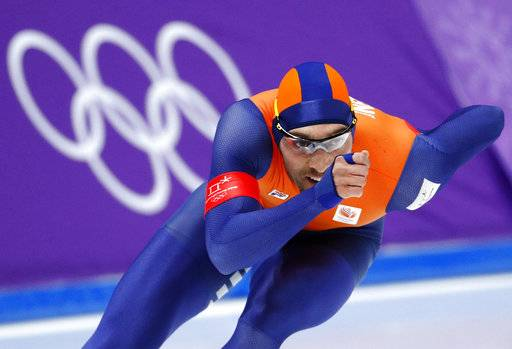 Kjeld Nuis of The Netherlands competes during the men's 1,500 meters speedskating race at the Gangneung Oval at the 2018 Winter Olympics in Gangneung, South Korea, Tuesday, Feb. 13, 2018.
