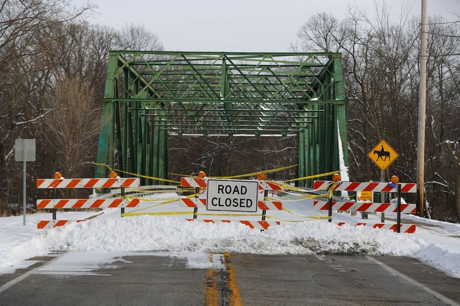 The Rockland Road bridge in Libertyville remains closed due to deterioration of the decorative steel truss, which will be removed.