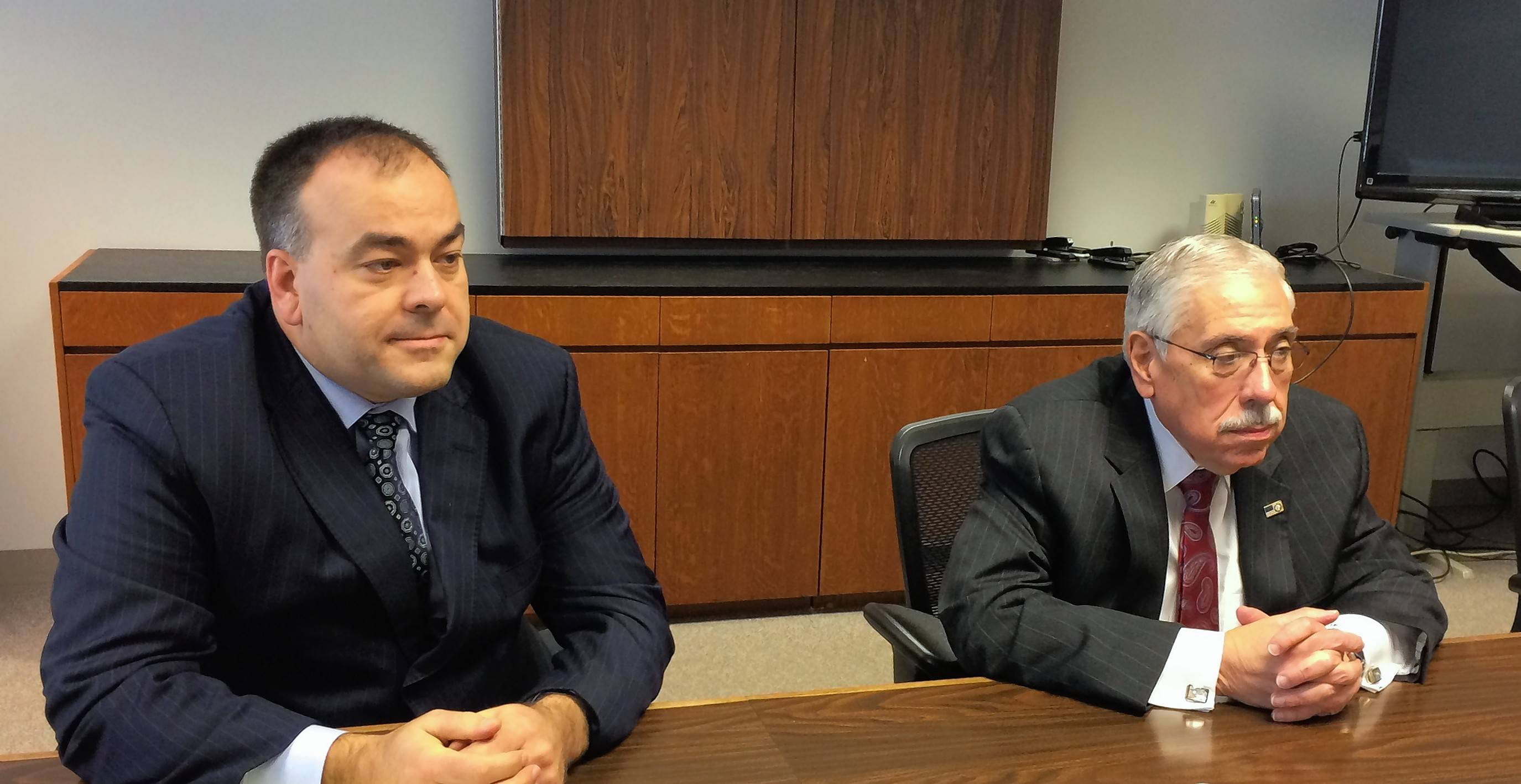 Fritz Kaegi, left, is challenging Cook County Assessor Joseph Berrios in the Democratic primary in March. The men participated in a Daily Herald editorial board joint interview Tuesday. A third candidate, Andrea Raila, could not attend the session.