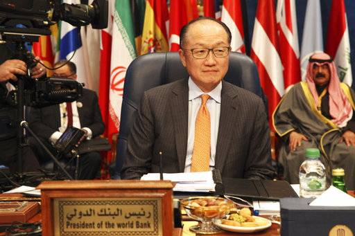 Jim Yong Kim, president of World Bank, prepares for a donor's summit at Bayan Palace in Kuwait City, Kuwait, Wednesday, Feb. 14, 2018. Kuwait on Wednesday hosted the final day of a conference seeking billions of dollars to help rebuild Iraq after the war against the Islamic State group.