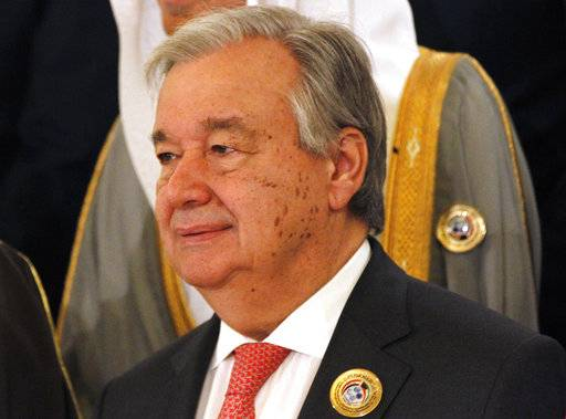 Antonio Guterres, the secretary-general of the United Nations, poses in Kuwait City, Kuwait, Wednesday, Feb. 14, 2018. Kuwait on Wednesday hosted the final day of a conference seeking billions of dollars to help rebuild Iraq after the war against the Islamic State group.