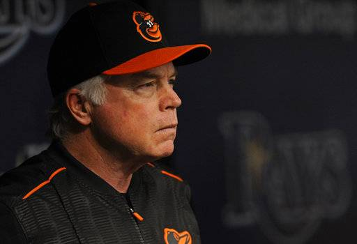 FILE - This Oct. 1, 2017 file photo shows Baltimore Orioles manager Buck Showalter watching from the dugout during the first inning of a baseball game against the Tampa Bay Rays in St. Petersburg, Fla.  The Orioles began spring training on Wednesday, Feb. 14, 2018 with 35 pitchers and much uncertainty. Since last season ended, Baltimore shed four of its starters from the 2017 rotation: right-handers Jeremy Hellickson, Ubaldo Jimenez and Chris Tillman and left-hander Wade Miley.