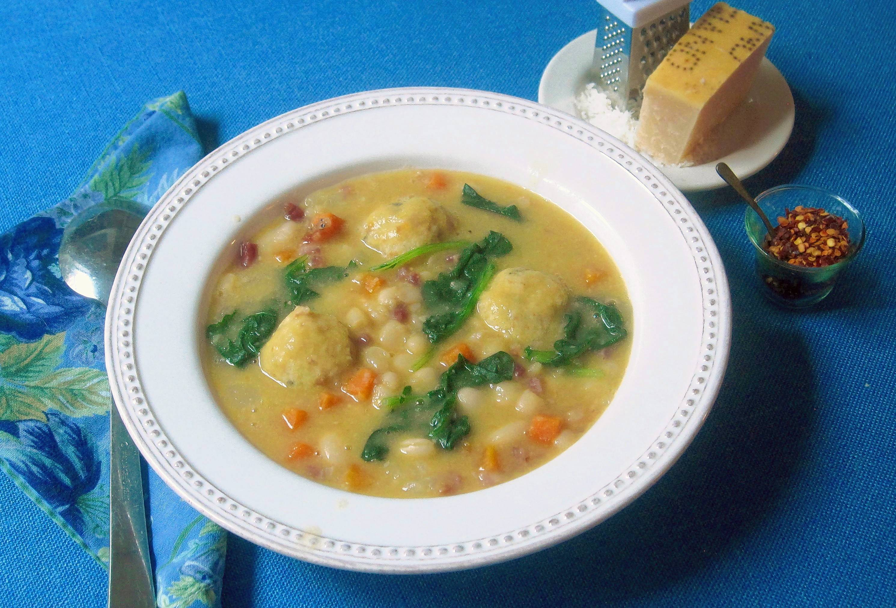 White bean soup with bread dumplings puts the warmth into winter.