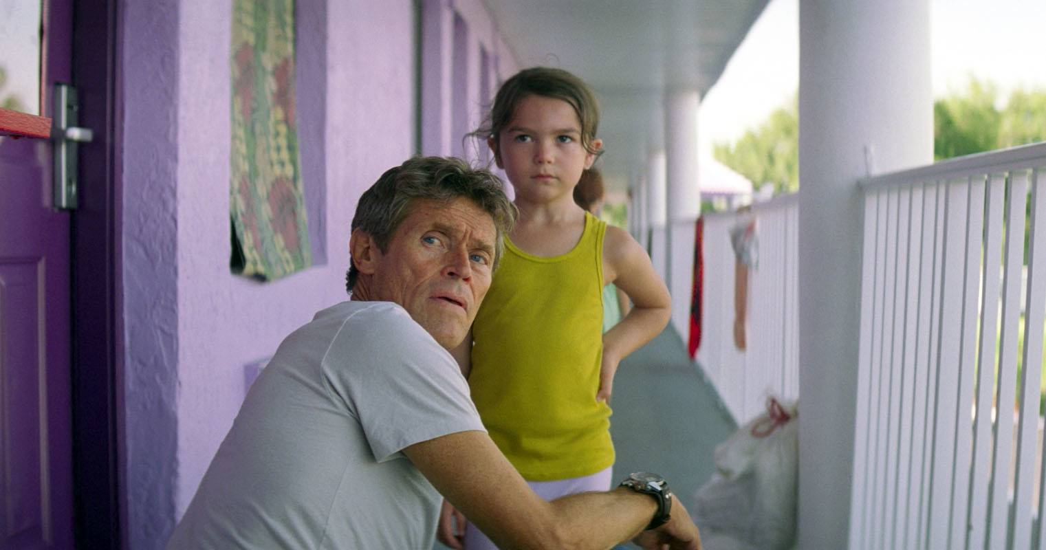 "Motel manager Bobby (Willem Dafoe) tries to reassure young tenant Moonee (Brooklynn Prince) in ""The Florida Project."""