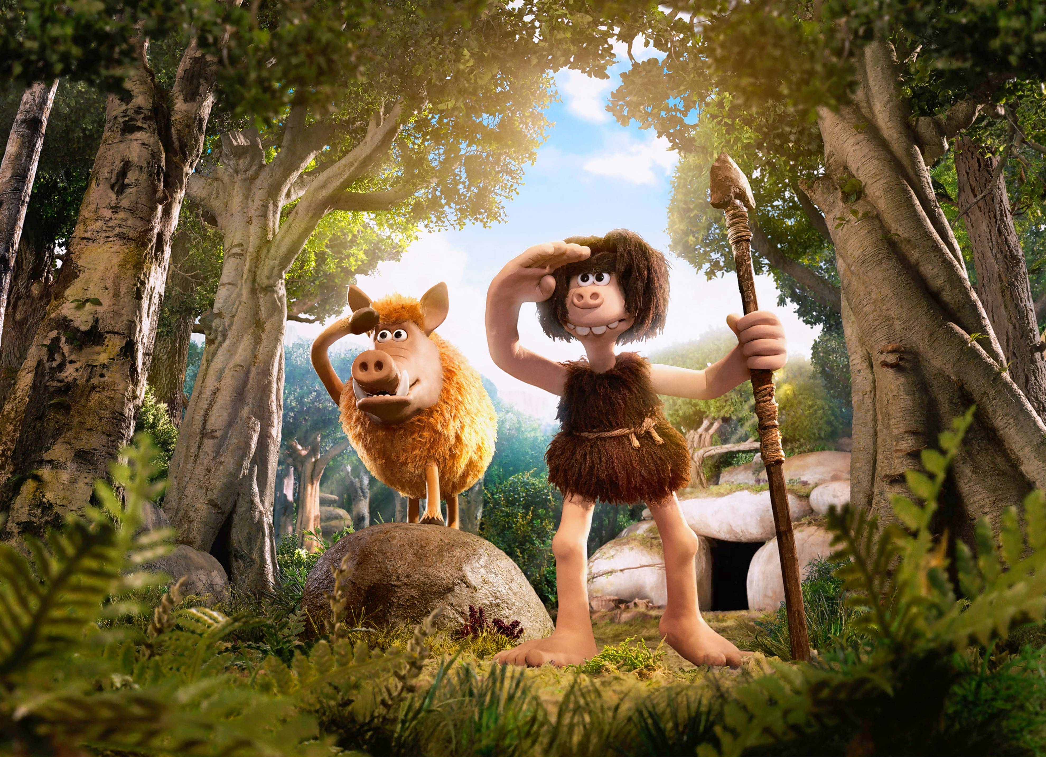"A cave man named Dug (voiced by Eddie Redmayne) and his trusted, tusked companion Hognob plot a way to regain their valley home from a ruthless villain in ""Early Man."""