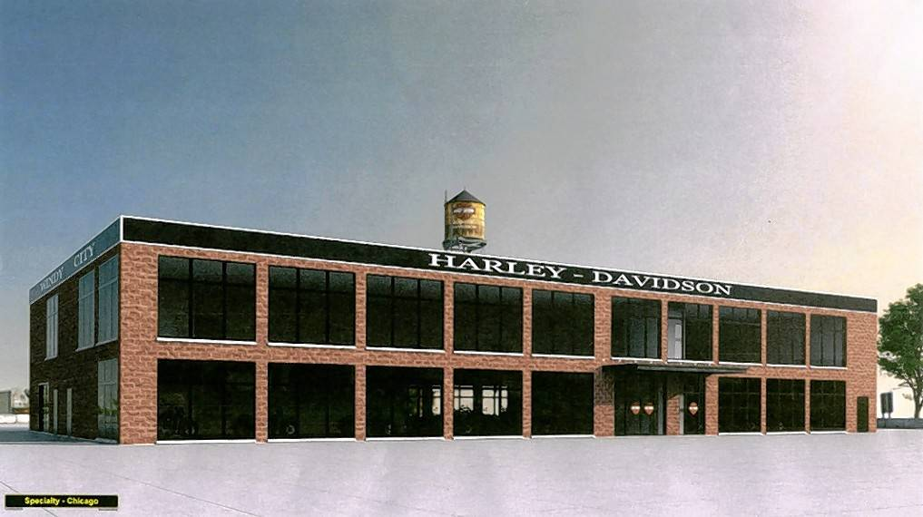 A sketch shows the proposed two-story, 20,000-square-foot Harley-Davidson dealership proposed to open by the end of the year in Rosemont. Plans no longer include an underground garage.