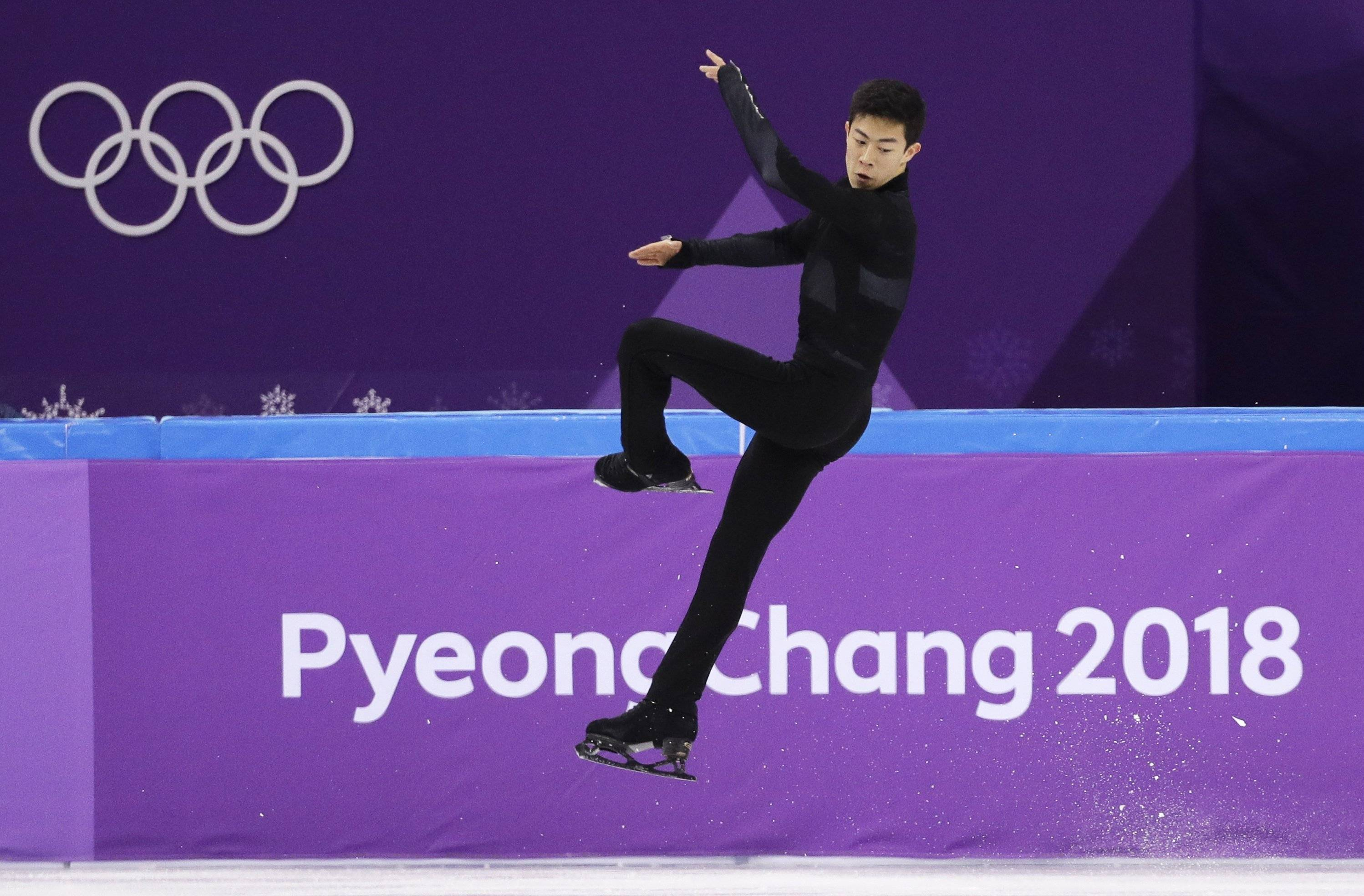 United States skater Nathan Chen performs in the men's single short program team event at the 2018 Winter Olympics in Gangneung, South Korea.
