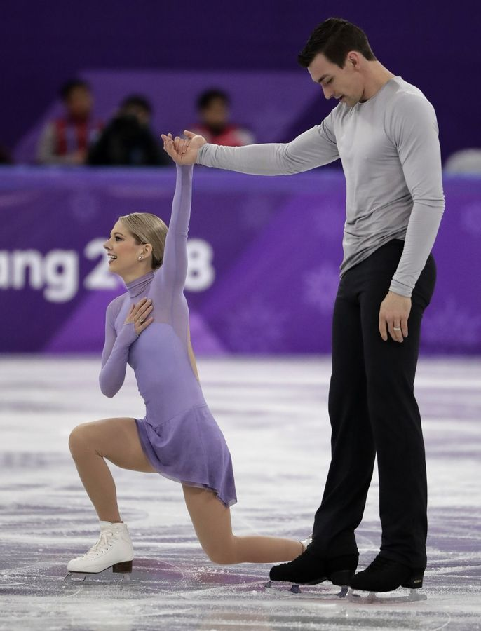 Alexa Scimeca Knierim and Chris Knierim of the USA react after their performance in the pairs free skate figure skating final in the Gangneung Ice Arena at the 2018 Winter Olympics in Gangneung, South Korea, Thursday, Feb. 15, 2018.