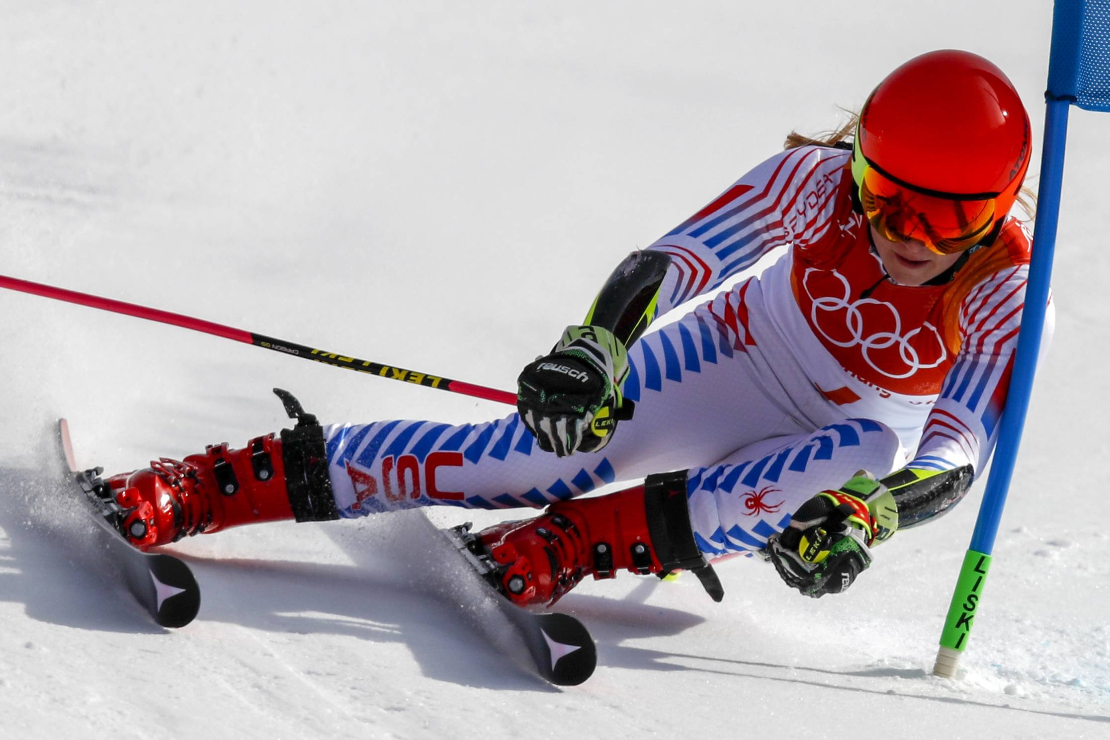 Mikaela Shiffrin, of the United States, attacks the gate during the second run of the Women's Giant Slalom at the 2018 Winter Olympics in Pyeongchang, South Korea.