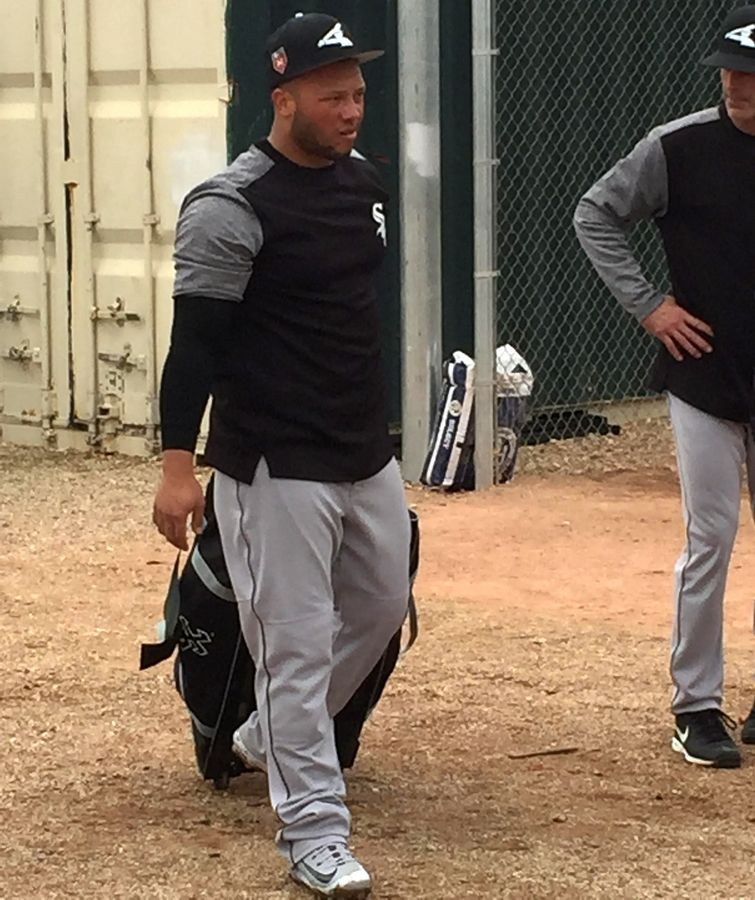 Catcher Welington Castillo joins the Chicago White Sox work out at spring training at Glendale, Arizona, and Camelback Ranch on Friday, Feb. 16, 2018.