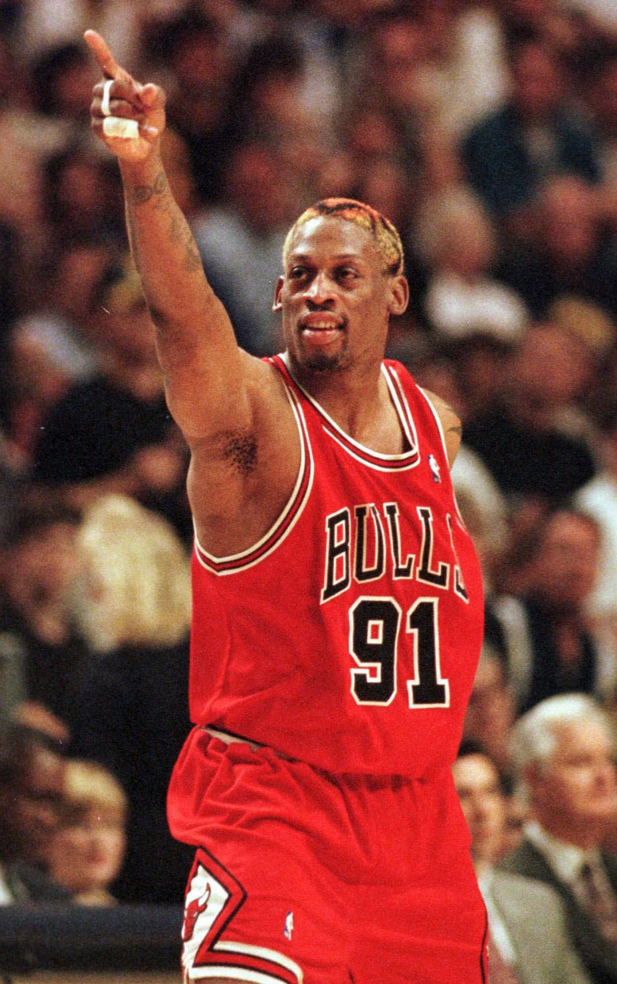 Dennis Rodman spent three of his 14 NBA seasons with the Chicago Bulls.