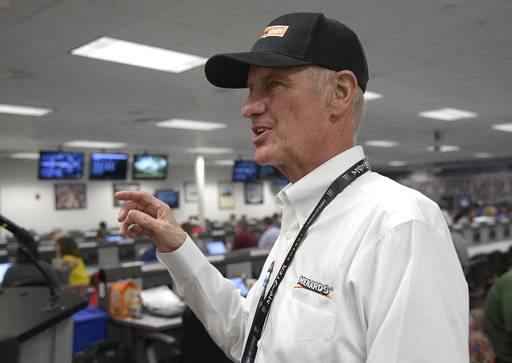 Eddie Wood speaks to reporters after a news conference for the NASCAR Daytona 500 Cup Series auto race at Daytona International Speedway in Daytona Beach, Fla., Saturday, Feb. 17, 2018. Eddie Wood's father, Hall of Fame team owner/driver Glen Wood, will miss the Daytona 500 for the first time in the race's history.
