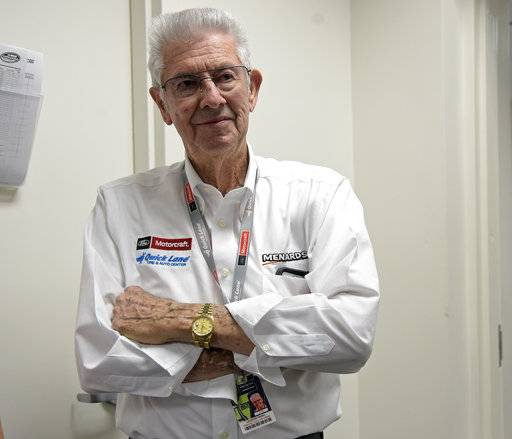 Leonard Wood listens after a news conference for the NASCAR Daytona 500 Cup Series auto race at Daytona International Speedway in Daytona Beach, Fla., Saturday, Feb. 17, 2018. Leonard's brother, Hall of Fame team owner/driver Glen Wood, will miss the Daytona 500 for the first time in the race's history.