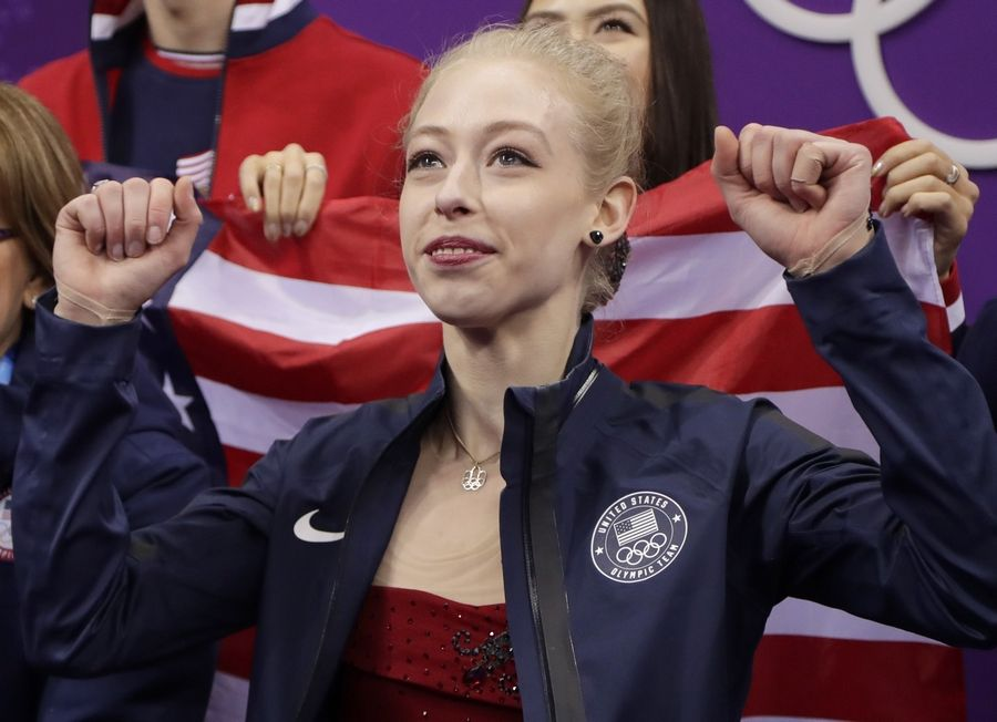 Bradie Tennell, of the United States reacts to scores after her performance in the ladies single figure skating short program in the Gangneung Ice Arena at the 2018 Winter Olympics in Gangneung, South Korea, Sunday, Feb. 11, 2018.