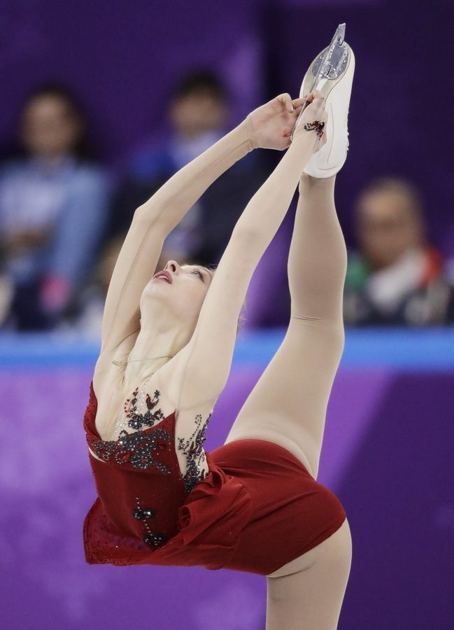 Bradie Tennell, of the United States performs in the ladies single figure skating short program in the Gangneung Ice Arena at the 2018 Winter Olympics in Gangneung, South Korea, Sunday, Feb. 11, 2018.