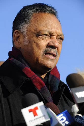 "File-This Nov. 24, 2015, file photo shows Rev. Jesse Jackson speaking to the media during a vigil for 17-year-old Laquan McDonald, who was fatally shot and killed Oct. 20, 2014 in Chicago. Jackson says he's deeply insulted by a Fox News host's ""attack� on Cleveland Cavaliers star LeBron James. Political commentator Laura Ingraham criticized the three-time NBA champion for his recent comments about social issues, suggesting he should ""shut up and dribble.� Jackson says it's important for James, Stephen (STEH'-fehn) Curry, Kevin Durant and other NBA players to keep speaking out against injustice and the behavior of President Donald Trump. (AP Photo/Paul Beaty, File)"